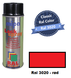 RAL-3020  Rød - 400ml - Mipa spray maling